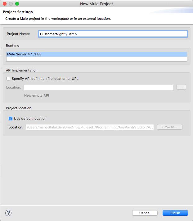 Create a new batch integration project